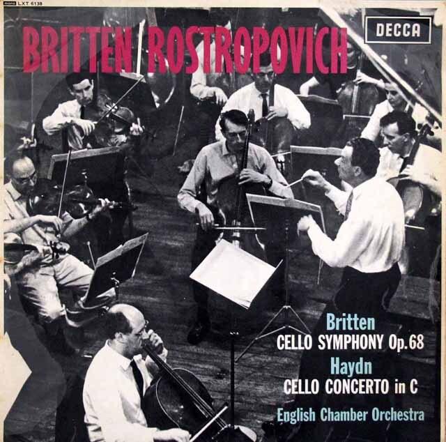 【モノラル】 ロストロポーヴィチのブリテン&ハイドン/チェロ協奏曲 英DECCA 3224 LP レコード
