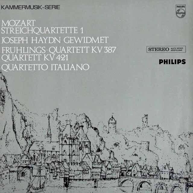 イタリア四重奏団のモーツァルト/弦楽四重奏曲第14番「春」&15番  蘭PHILIPS 3225 LP レコード