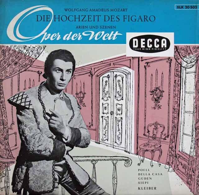【モノラル】 エーリヒ・クライバーのモーツァルト/「フィガロの結婚」抜粋 独DECCA 3225 LP レコード