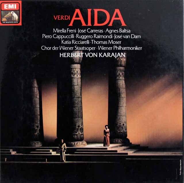 カラヤン&フレーニのヴェルディ/「アイーダ」全曲 独EMI 3225 LP レコード