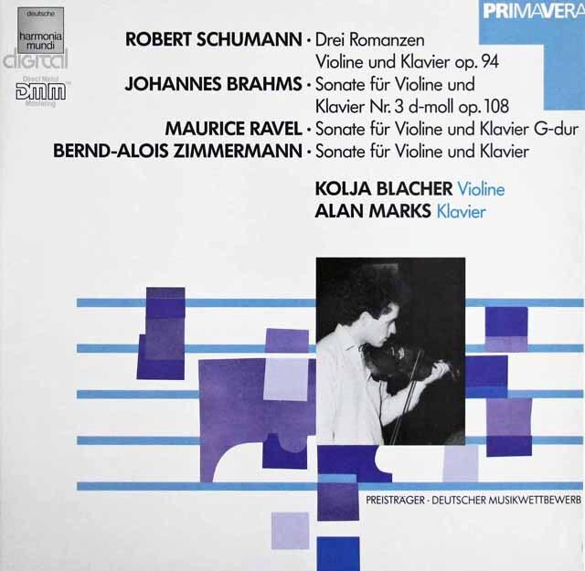 ブラッハーのブラームス/ヴァイオリンソナタ第3番ほか 独HM 3225 LP レコード
