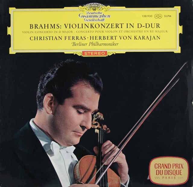 【赤ステレオ/独最初期盤】 フェラス&カラヤンのブラームス/ヴァイオリン協奏曲 独DGG 3226 LP レコード