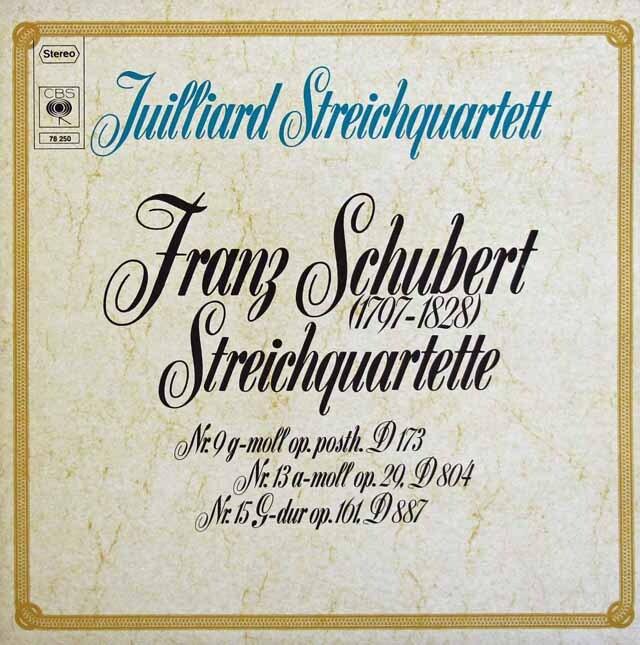 ジュリアード四重奏団のシューベルト/弦楽四重奏曲「ロザムンデ」ほか 独CBS 3227 LP レコード