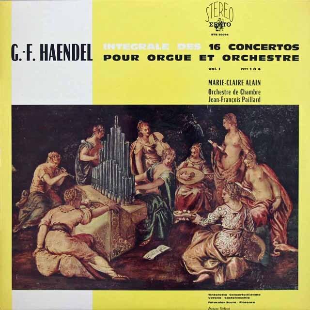 アラン&パイヤールのヘンデル/オルガン協奏曲集 仏ERATO  3227 LP レコード