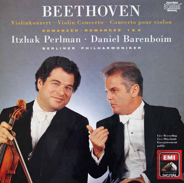 パールマン&バレンボイムのベートーヴェン/ヴァイオリン協奏曲ほか 独EMI 3227 LP レコード