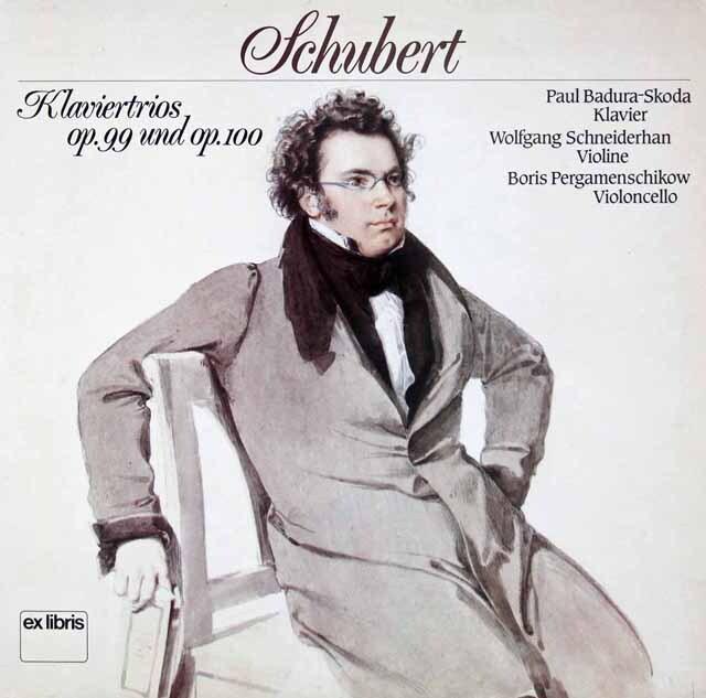 スコダ、シュナイダーハン、ペルガメンシコフのシューベルト/ピアノ三重奏曲第1&2番 スイスexlibris 3228 LP レコード
