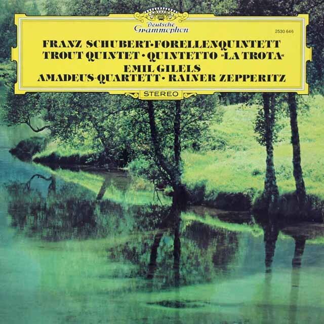 ギレリス&アマデウス四重奏団のシューベルト/ピアノ五重奏曲「ます」ほか 独DGG 3228 LP レコード