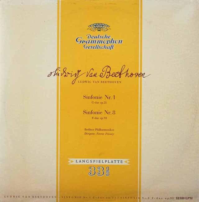 フリッチャイのベートーヴェン/交響曲第1&8番 独DGG 3228 LP レコード
