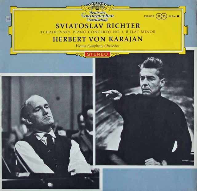【赤ステレオ/独最初期盤】 リヒテル&カラヤンのチャイコフスキー/ピアノ協奏曲第1番 独DGG 3230 LP レコード