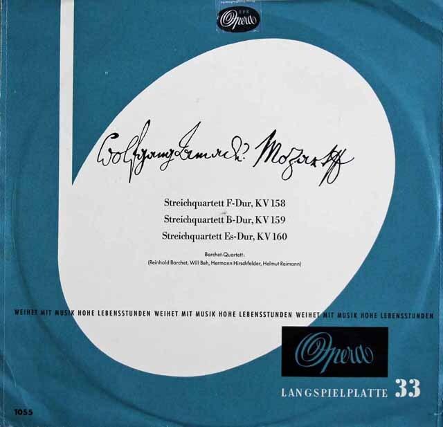 バルヒェット四重奏団のモーツァルト/弦楽四重奏曲第5番~7番 独Opera 3230 LP レコード