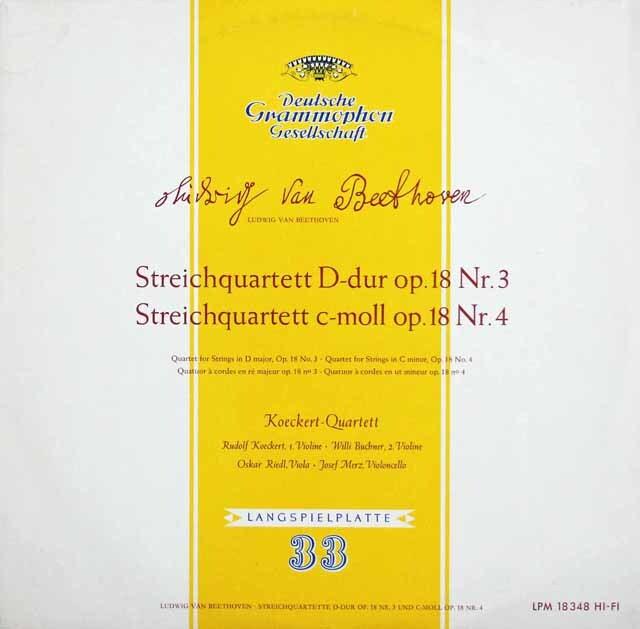 ケッケルト四重奏団のベートーヴェン/大フーガ&弦楽四重奏曲第3&4番 独DGG 3231 LP レコード