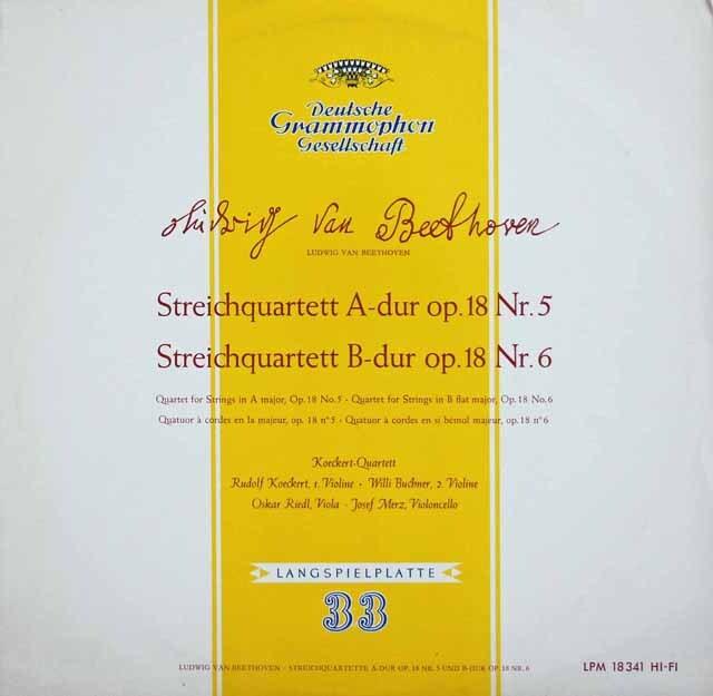 ケッケルト四重奏団のベートーヴェン/弦楽四重奏曲第5&6番 独DGG 3231 LP レコード