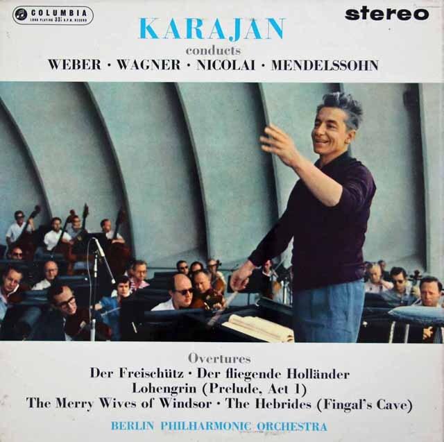 【オリジナル盤】 カラヤンのウェーバー/「魔弾の射手」ほか序曲集 英Columbia 3232 LP レコード
