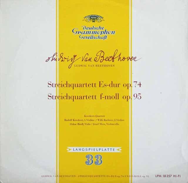 ケッケルト四重奏団のベートーヴェン/弦楽四重奏曲第10番「ハープ」&第11番「セリオーソ」 独DGG 3232 LP レコード