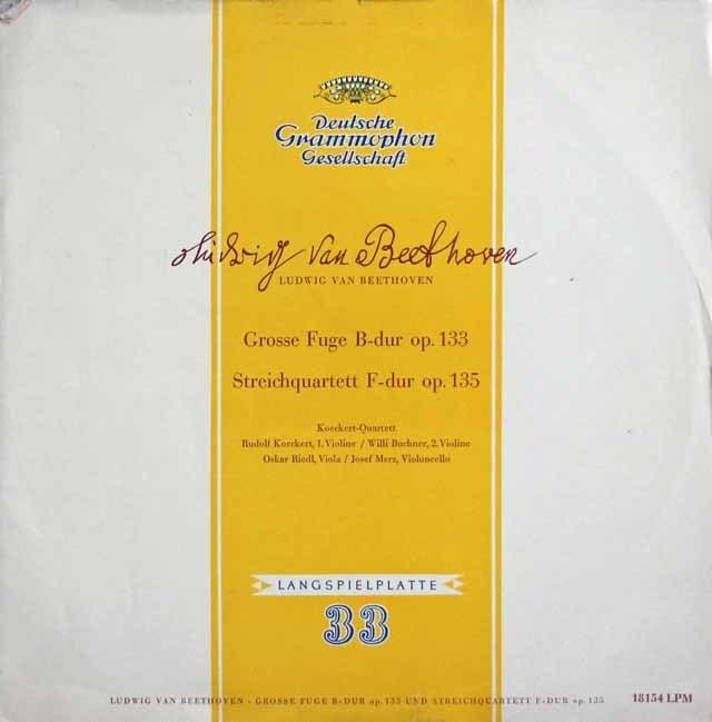 ケッケルト四重奏団のベートーヴェン/大フーガ&弦楽四重奏曲第16番  独DGG 3232 LP レコード