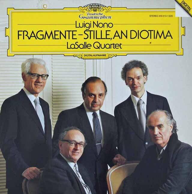 ラサール四重奏団のノーノ/弦楽四重奏のための「断片-静寂、ディオティーマへ」    独DGG 3270 LP レコード