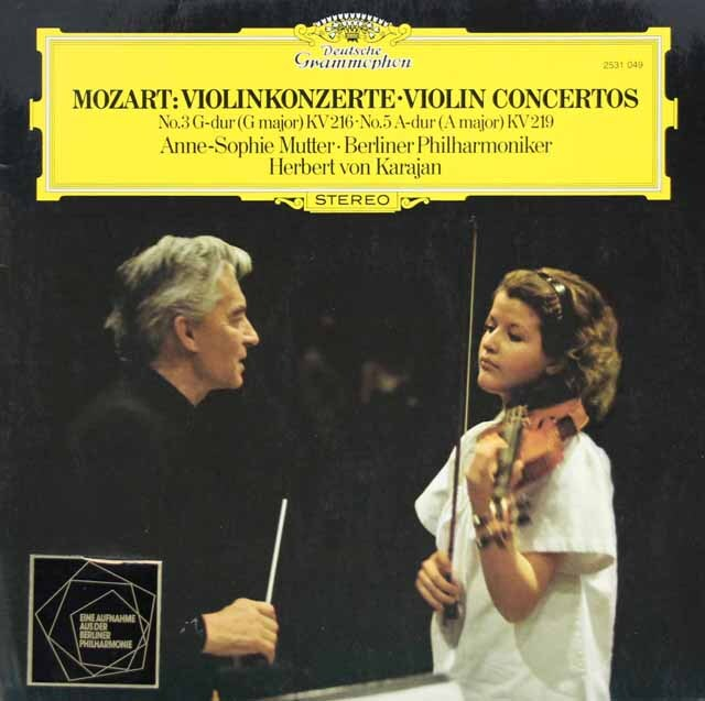 ムター&カラヤンのモーツァルト/ヴァイオリン協奏曲第3&5番 独DGG 3303 LP レコード