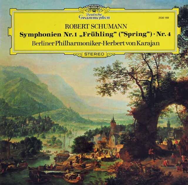 カラヤンのシューマン/交響曲第1番「春」&4番  独DGG 3303 LP レコード
