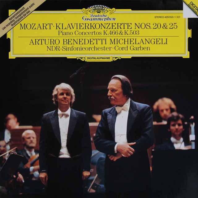 ミケランジェリのモーツァルト/ピアノ協奏曲第20&25番 独DGG 3305 LP レコード