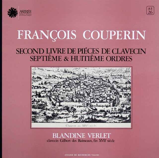 ヴェルレのクープラン/クラヴサン曲集第2巻 仏ASTREE 3306 LP レコード