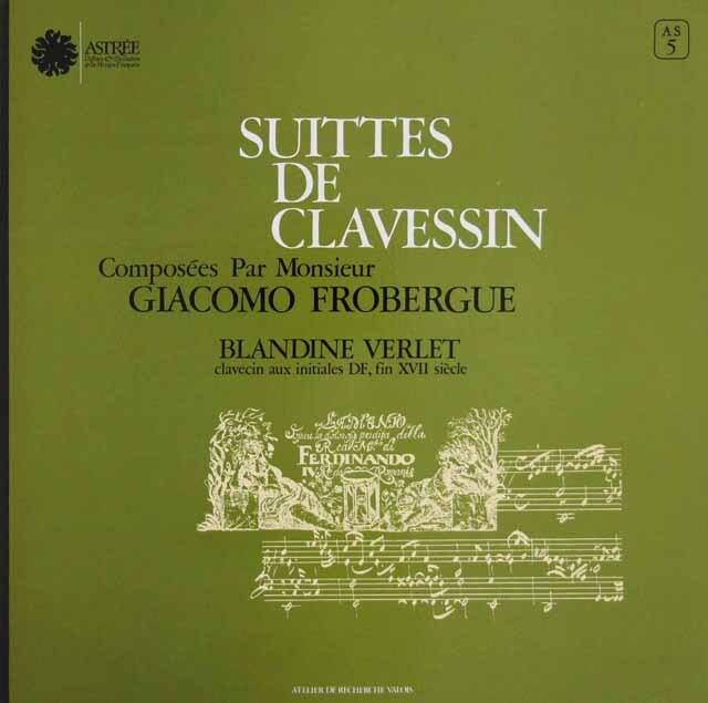 ヴェルレのフローベルガー/クラヴサン組曲集 仏ASTREE 3306 LP レコード