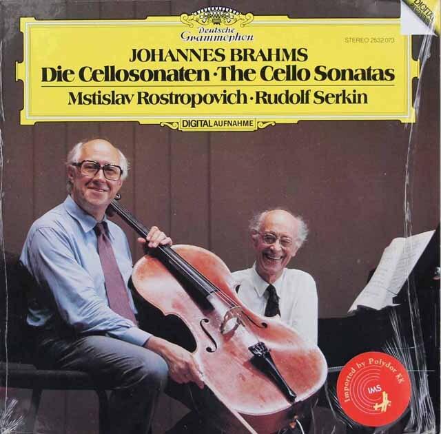 ロストロポーヴィチ、ゼルキンのブラームス/チェロソナタ第1、2番 独DGG 3306 LP レコード