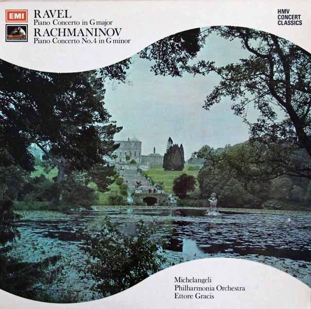 ミケランジェリ&グラチスのラフマニノフ&ラヴェル/ピアノ協奏曲集 英EMI 3307 LP レコード