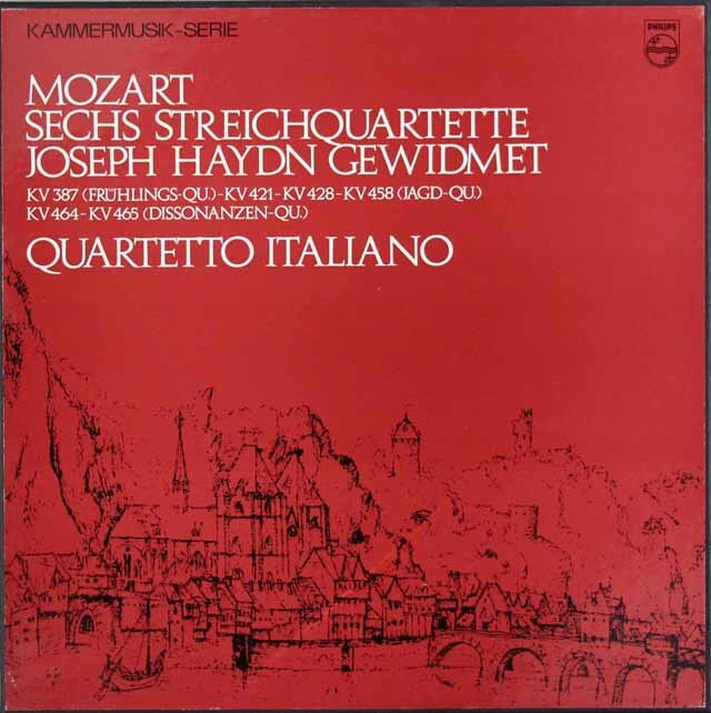 イタリア四重奏団のモーツァルト/弦楽四重奏曲「ハイドン・セット」 蘭PHILIPS 3307 LP レコード