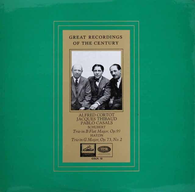 コルトー、ティボー&カザルスのシューベルト&ハイドン/ピアノ三重奏曲集 英EMI 3309 LP レコード
