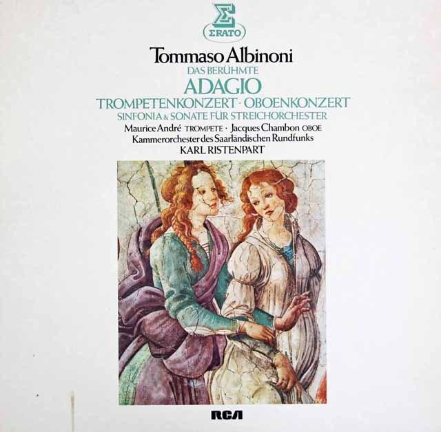 リステンパルト&アンドレらのアルビノーニ/「アダージョ」、トランペット協奏曲ほか 独ERATO 3309 LP レコード