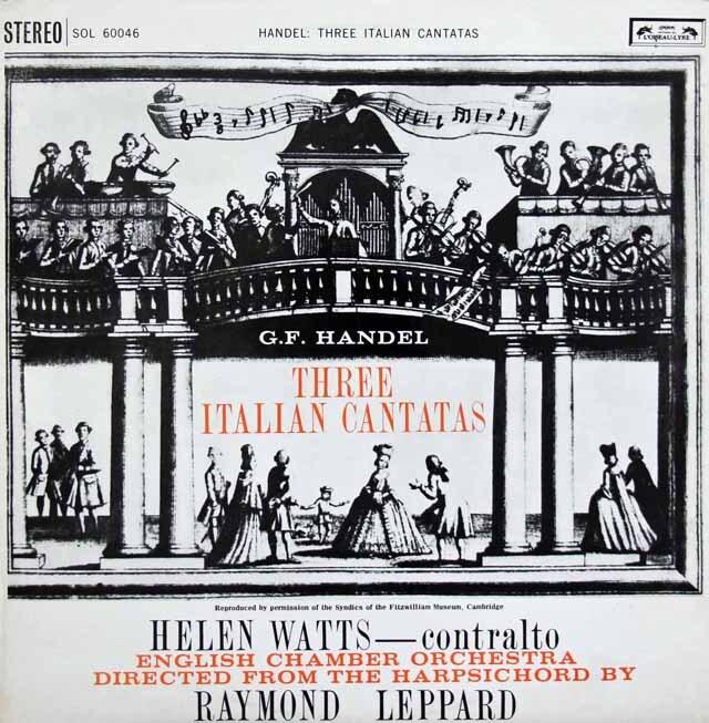 ワッツ&レッパードのヘンデル/3つのイタリアンカンタータ集 英L'OISEAU-LYRE 3309 LP レコード