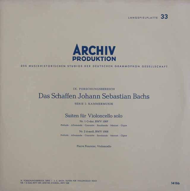 【モノラル】 フルニエのバッハ/無伴奏チェロ組曲全曲 独ARCHIV 3310 LP レコード