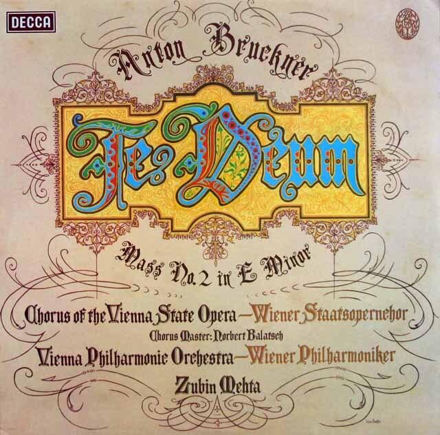 【オリジナル盤】 メータのブルックナー/テ・デウム、ミサ曲第2番 英DECCA 3310 LP レコード