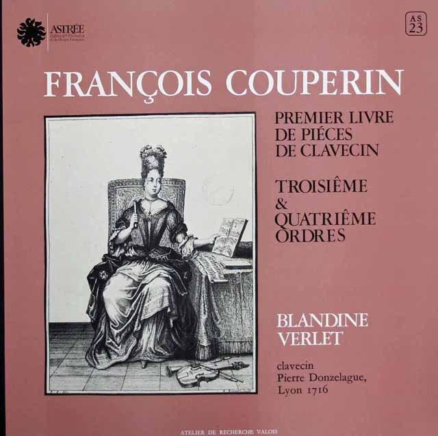 ヴェルレのクープラン/クラヴサン第3&4組曲集 仏ASTREE 3311 LP レコード