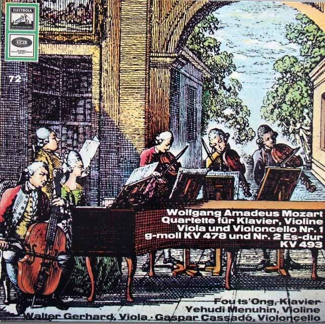 フー・ツォン、メニューインらのモーツァルト/ピアノ四重奏曲第1&2番 独ELECTROLA 3311 LP レコード