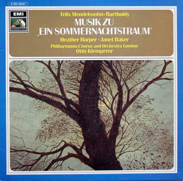 ハーパー、ベイカー&クレンペラーのメンデルスゾーン/「真夏の夜の夢」 独EMI 3311 LP レコード
