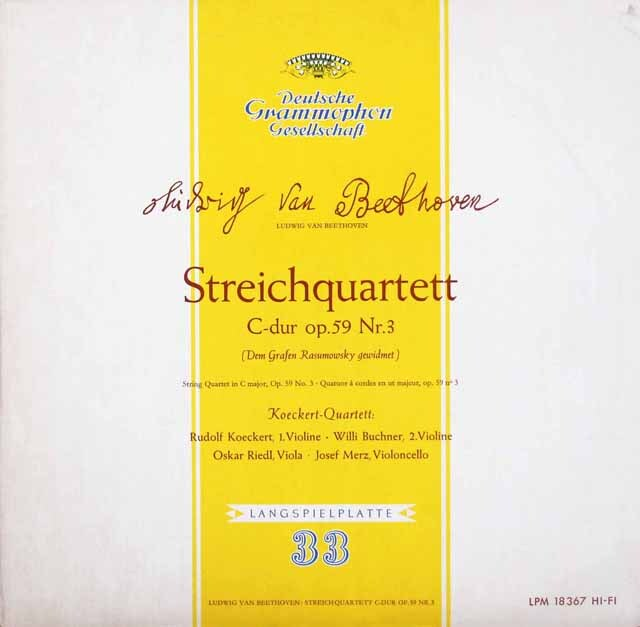ケッケルト四重奏団のベートーヴェン/弦楽四重奏曲第9番「ラズモフスキー第3番」 独DGG 3312 LP レコード