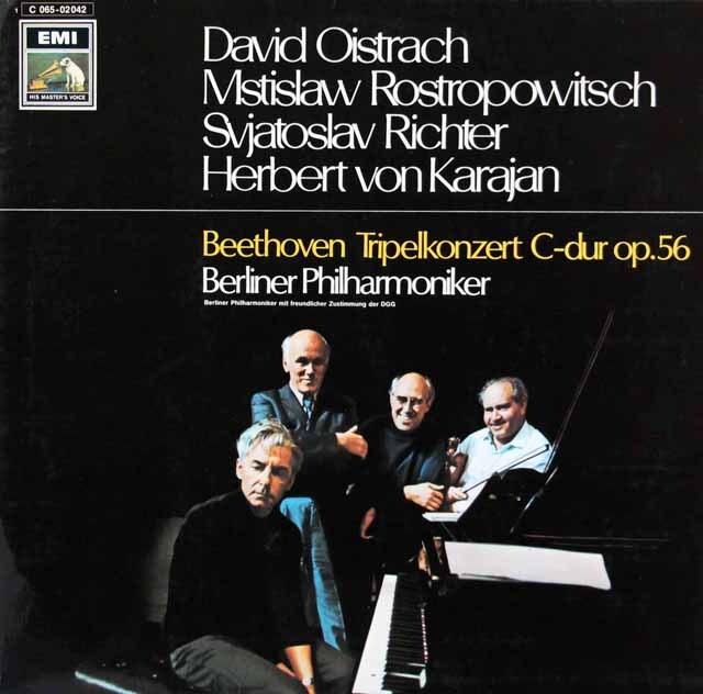 オイストラフ、ロストロポーヴィチ、リヒテル&カラヤンのベートーヴェン/三重協奏曲 独EMI 3312 LP レコード