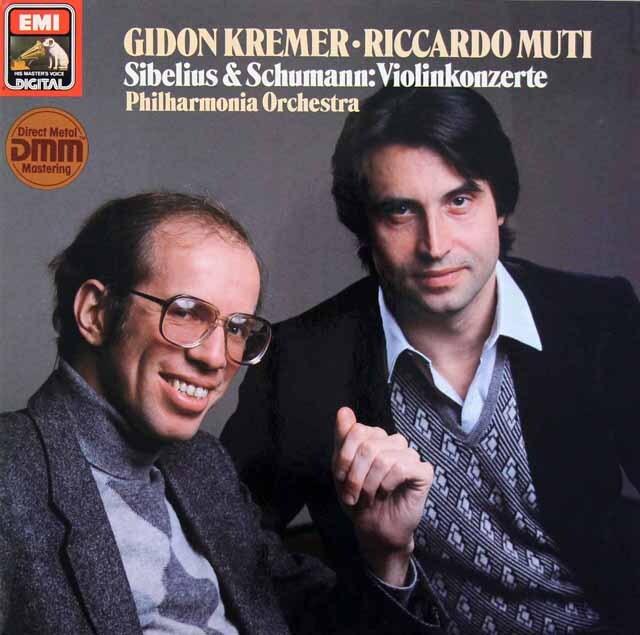 クレーメル&ムーティのシベリウス&シューマン/ヴァイオリン協奏曲集 独EMI 3312 LP レコード