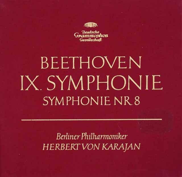 【赤ステレオ/独最初期盤】カラヤンのベートーヴェン/交響曲第8&9番「合唱付き」 独DGG 3312 LP レコード