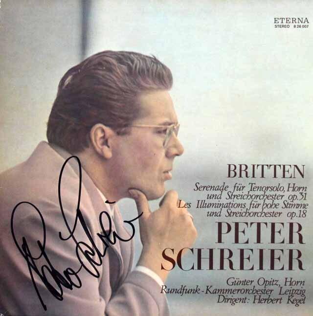 【直筆サイン入り】シュライアーのブリテン/テノール、ホルンと弦楽のためのセレナードほか 独ETERNA 3314 LP レコード