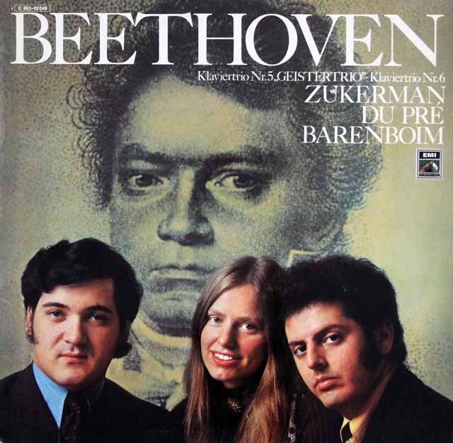 ズッカーマン、デュ・プレ&バレンボイムのベートーヴェン/ピアノ三重奏曲「幽霊」ほか 独EMI 3318 LP レコード