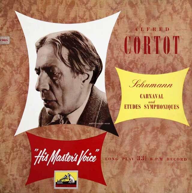 【オリジナル盤】 コルトーのシューマン/「謝肉祭」、「交響的練習曲」 英EMI 3318 LP レコード