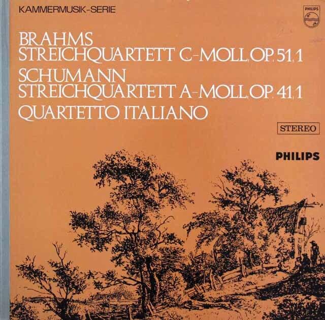 イタリア四重奏団のブラームス&シューマン/弦楽四重奏曲集 蘭PHILIPS 3318 LP レコード
