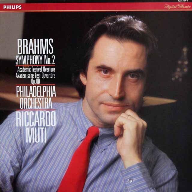 ムーティのブラームス/交響曲第2番&大学祝典序曲 蘭PHILIPS 3319 LP レコード