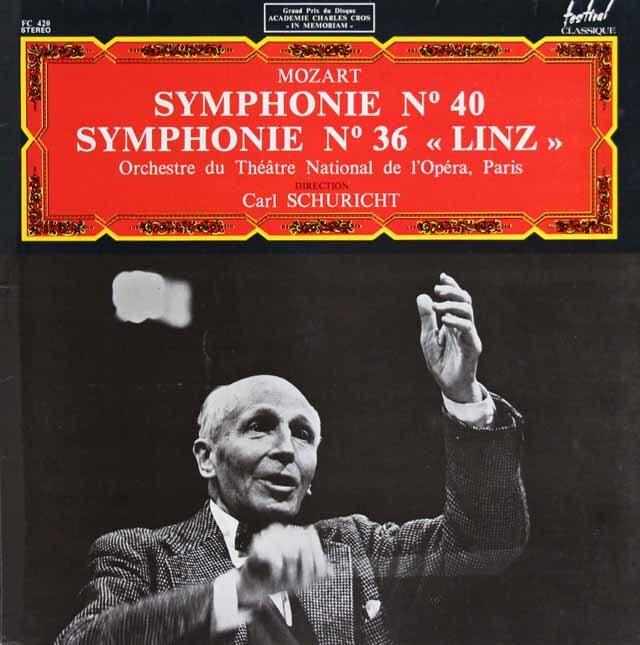 シューリヒトのモーツァルト/交響曲第40番&第36番「リンツ」 仏festival   3319 LP レコード