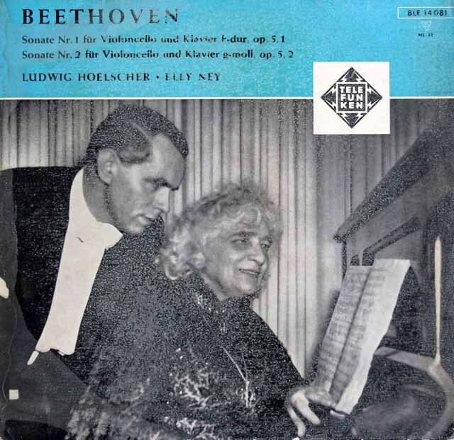 【オリジナル盤】 ヘルシャー、ナイのベートーヴェン/チェロソナタ第1、2番 独TELEFUNKEN 3319 LP レコード