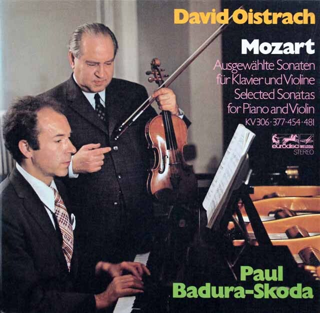 オイストラフ&バドゥラ=スコダのモーツァルト/ヴァイオリンソナタ集 独eurodisc 3319 LP レコード