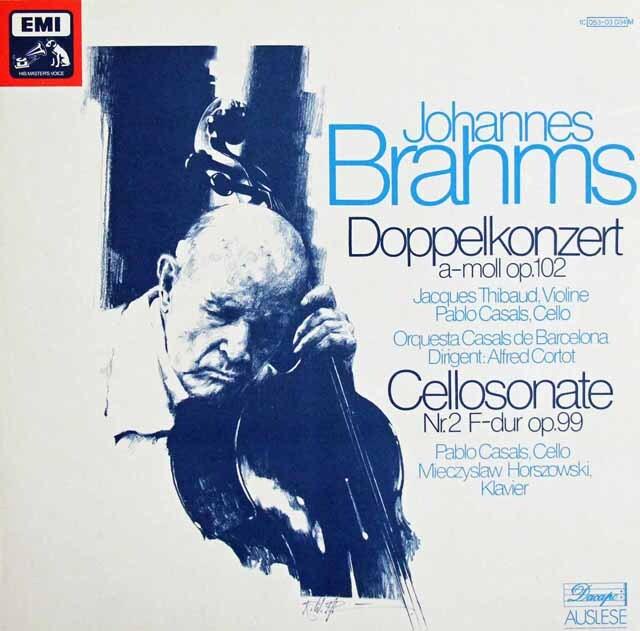 コルトー、ティボー&カザルスのブラームス/ヴァイオリンとチェロのための二重協奏曲ほか 独EMI 3320 LP レコード