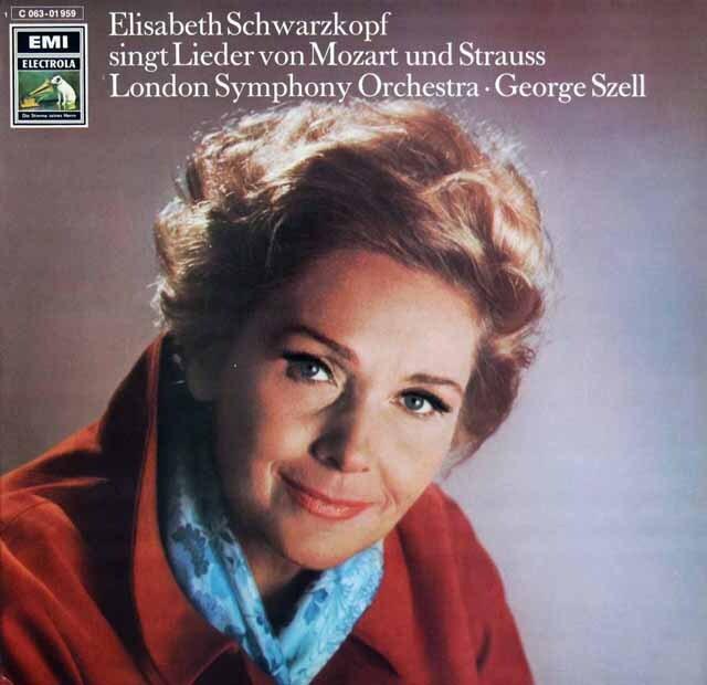 シュヴァルツコップ&セルのモーツァルト&R.シュトラウス/歌曲集 独EMI 3320 LP レコード